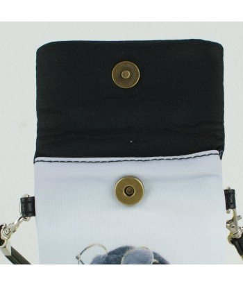 Petites pochettes téléphone - 2 bouledogues Anglais fond fleuri