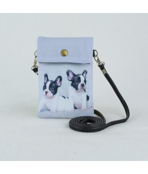 Petites pochettes téléphone - 2 bébés bouledogues français