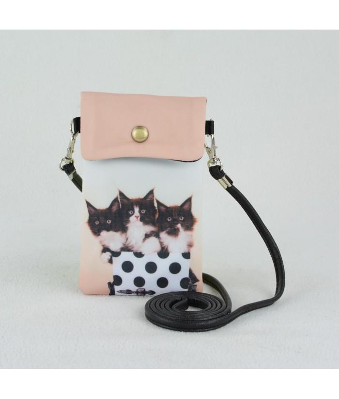 Petites pochettes téléphone - 3 chatons à pois