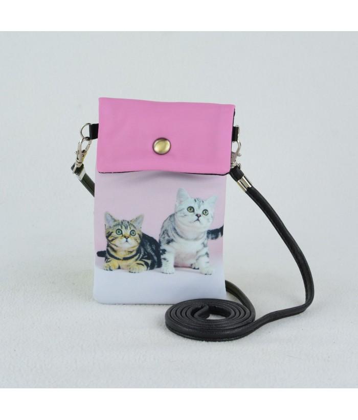 Petites pochettes téléphone - 2 chats européens fond rose