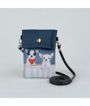 Petites pochettes téléphone - 2 Chihuahuas coeur