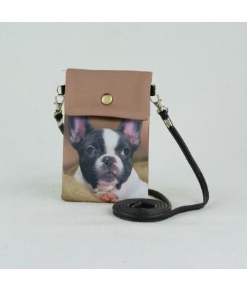 Petites pochettes téléphone - Bouledogue Français fond choco