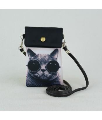 Petites pochettes téléphone - Chat aux lunettes