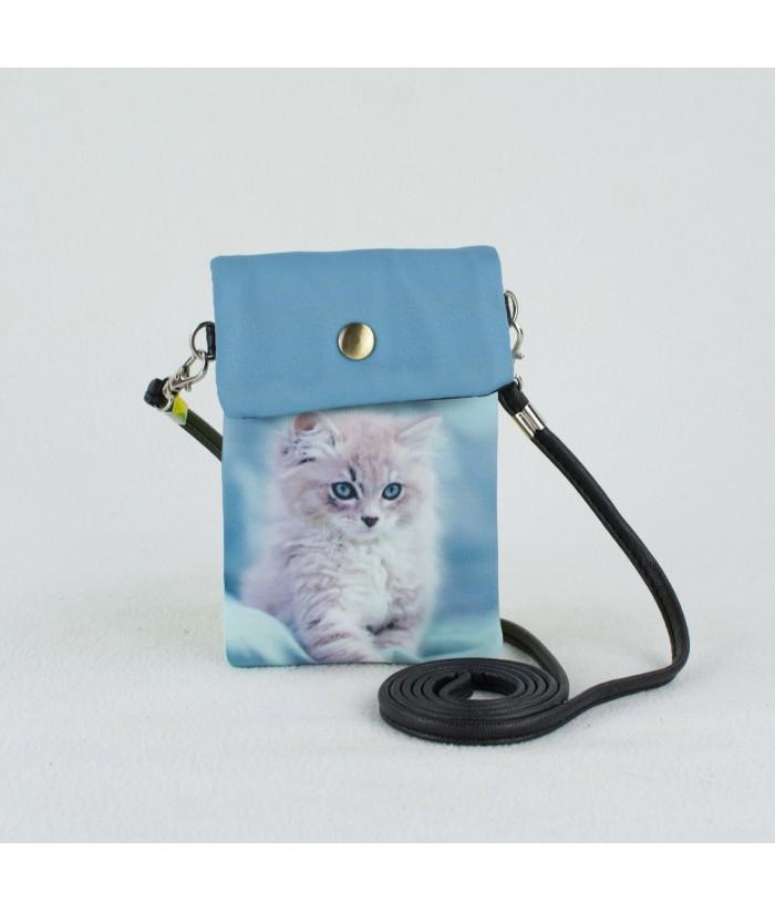 Petites pochettes téléphone - Chaton fond bleu ciel