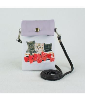 Petites pochettes téléphone - Chatons petits coeurs