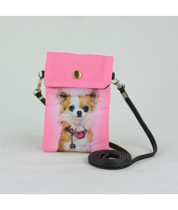 Petites pochettes téléphone - Chihuahua rose