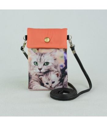 Petites pochettes téléphone - Maman chat et son bébé