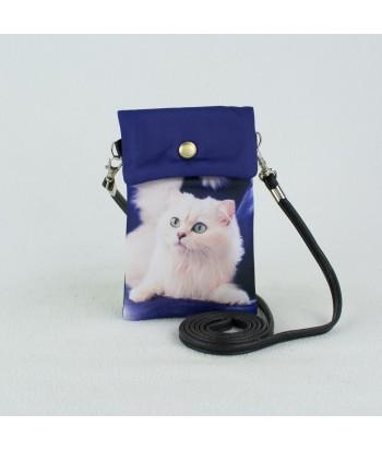 Petites pochettes téléphone - Chat Persan blanc fond bleu roi