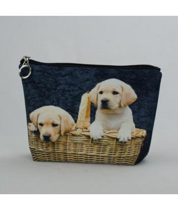 Trousse - 2 bébés Labradors dans le panier