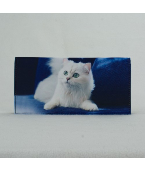 Porte-documents voiture - Chat Persan blanc fond bleu roi