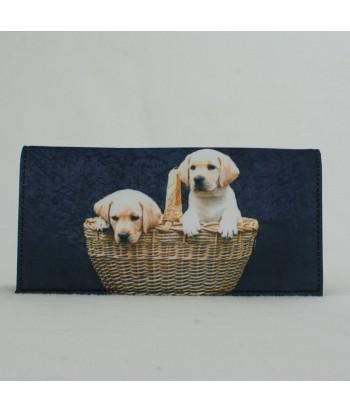 Porte-documents voiture - 2 bébés Labradors dans le panier