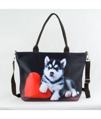 "Sac grand ""week-end"" - Husky noir et blanc"