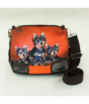 Petit sac bandoulière -Les 4 yorks fond rouge orangé