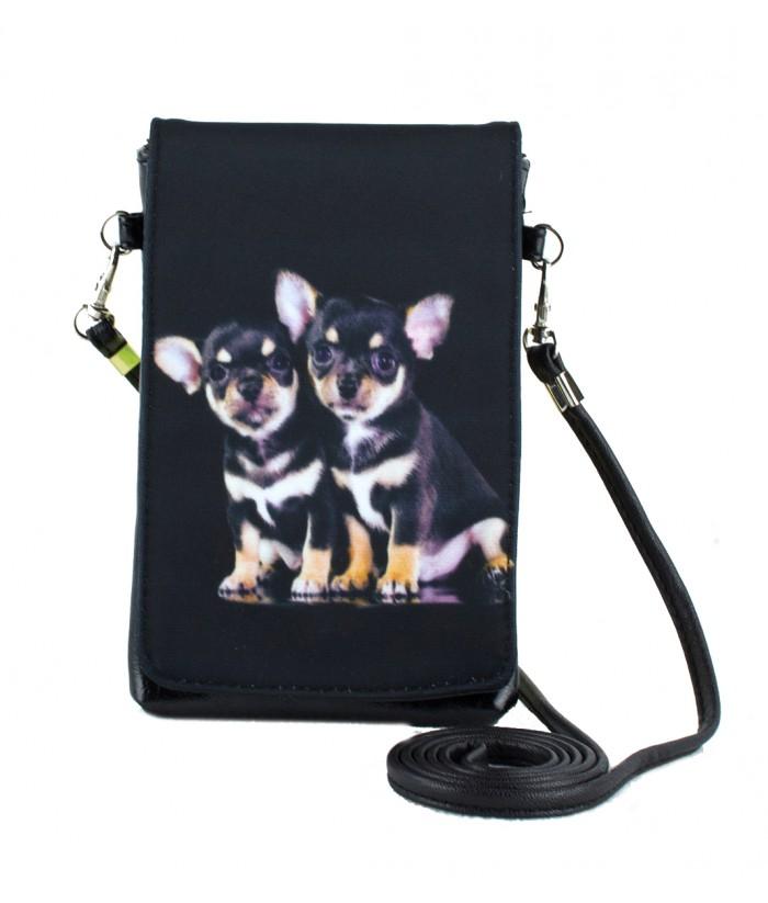 Pochettes téléphones XXL - 2 bébés chihuahuas noirs et fauves