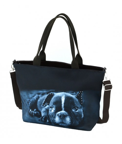 "Sac grand ""week-end"" - Bébé bouledogue Français noir couché"