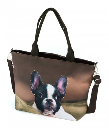 Sac Grand week-end - Bouledogue Francais fond choco