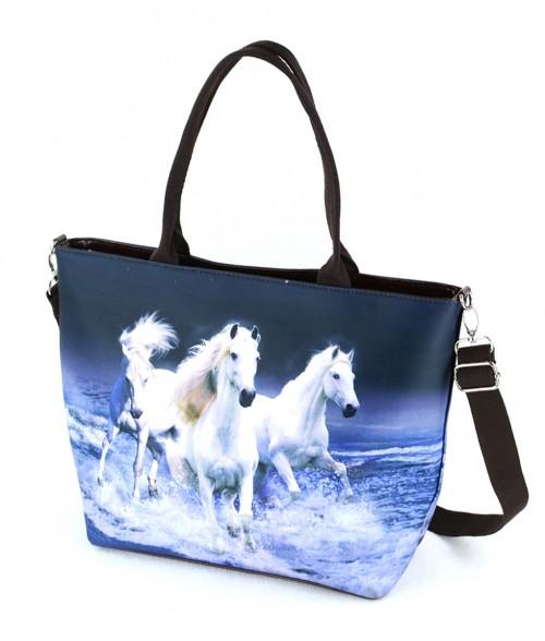 "Sac grand ""week-end"" - 3 chevaux blancs sur l eau"