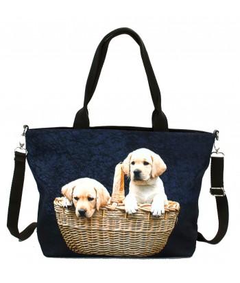 """Sac grand """"week-end"""" - 2 bébés Labradors dans le panier"""