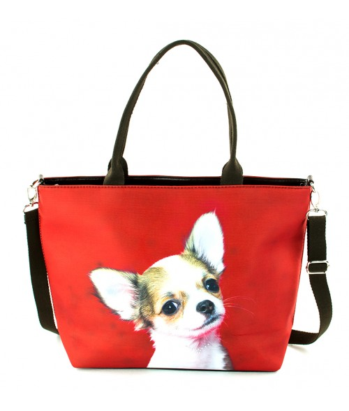 "Sac grand ""week-end"" - Chihuahua fond rouge"
