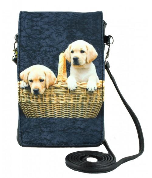 Pochettes téléphones XL - 2 bébés Labradors dans le panier