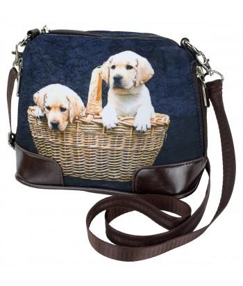 Petit sac bandoulière - 2 bébés Labradors dans le panier