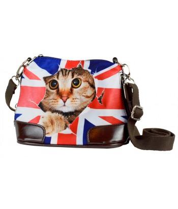 Petit sac bandoulière - Chat drapeau Anglais