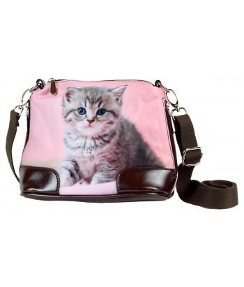 Petit sac bandoulière - Chaton fond rose pâle