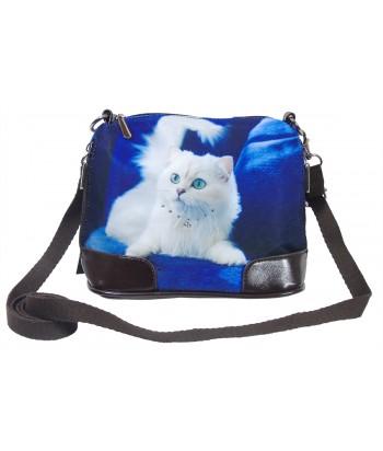 Petit sac bandoulière - Chat Persan blanc fond bleu roi