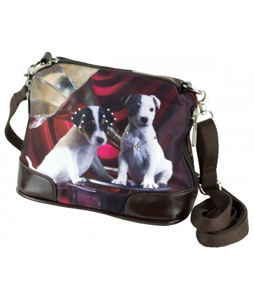 Petit sac bandoulière - 2 Jacks Russels noir et rouge