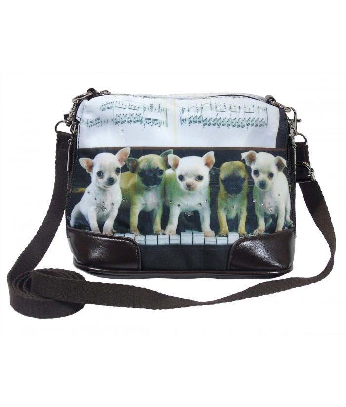 Petit sac Bandoulière - Bébés chihuahuas piano