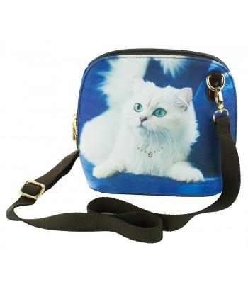 Les sacs coque rigide - Chat persan blanc fond bleu roi
