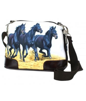 Petit sac bandoulière - 3 chevaux noirs sur le sable