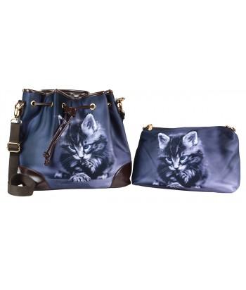 Les sacs 2 en 1 - chaton gris aux yeux bleus
