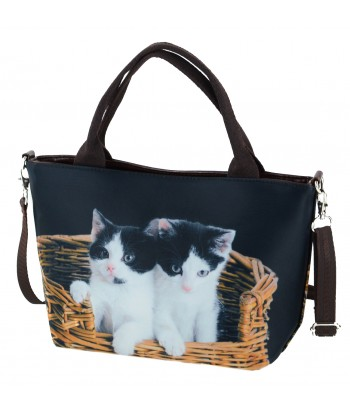 "Petits sacs ""week-end"" - 2 chats dans le panier"