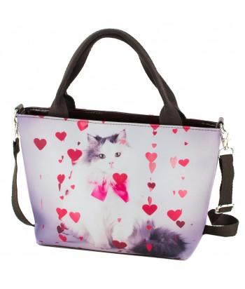 Petits sacs week-end - Chat petits coeurs roses