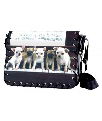 Sac Bandoulière - Bébés chihuahuas sur le piano