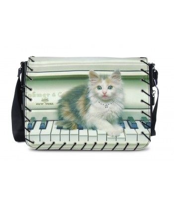 Sac Bandoulière - chat sur le piano