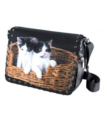 Sac Bandoulière 2 chats dans le panier