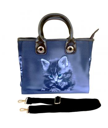 Le sac de ville - Chaton gris aux yeux bleus