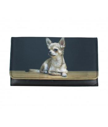 Grand portefeuille porte chéquier avec le chien Chihuahua solo