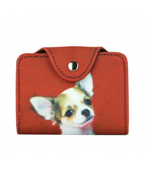 Porte-cartes - Chihuahua fond rouge
