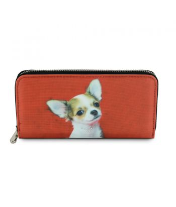 Compagnon avec zip - Chihuahua fond rouge