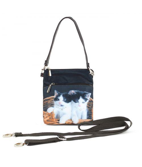 Sacoche toile satinée - 2 chats dans le panier