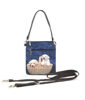 Sacoche toile satinée -2 bébés Labradors dans le panier
