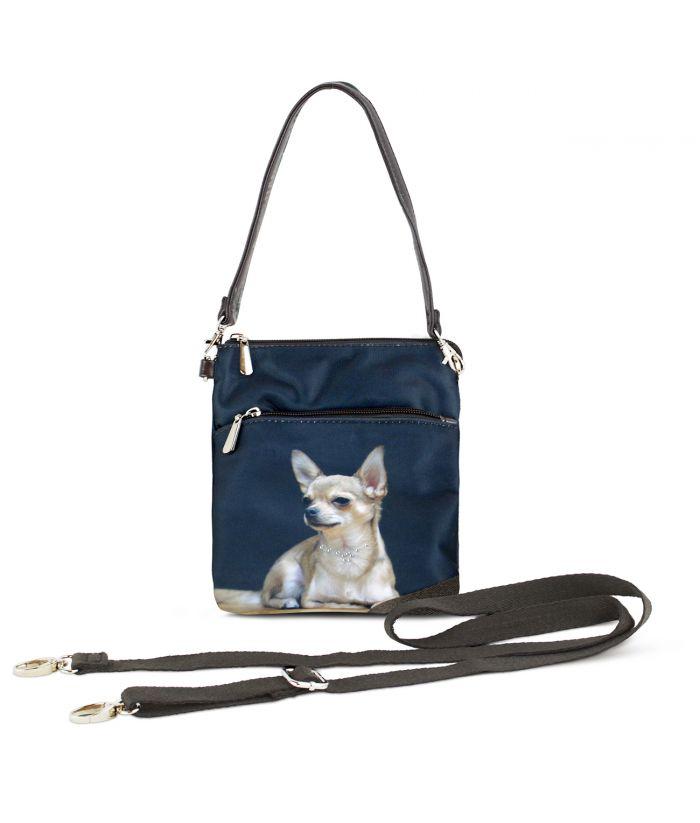 Sacoche toile satinée - Chihuahua solo