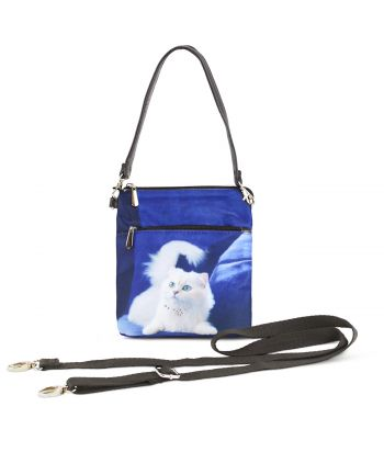Sacoche toile satinée - Chat persan blanc fond bleu roi