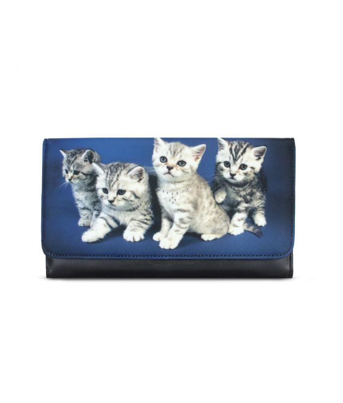 Grand compagnon - Porte-chéquier - 4 chatons tigrés