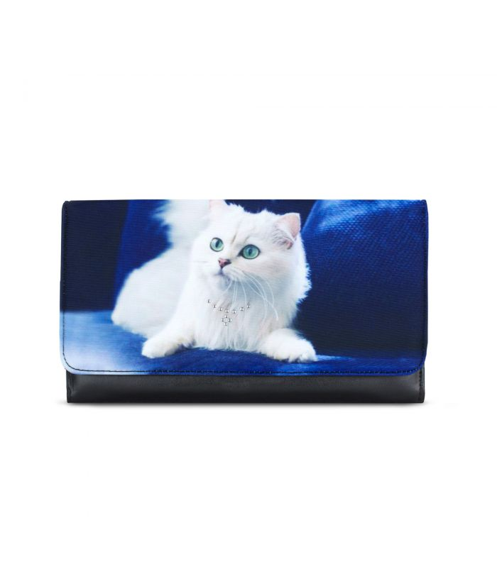 Grand compagnon - Porte-chéquier - Chat persan blanc fond bleu roi