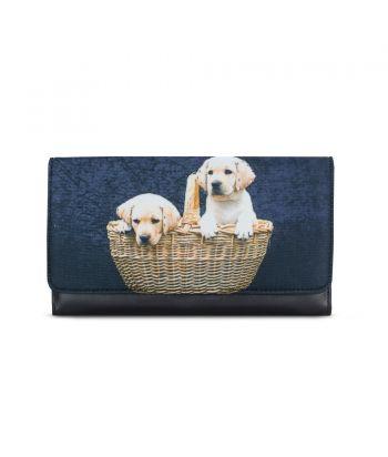 Grand compagnon - Porte-chéquier - 2 bébés Labradors dans le panier