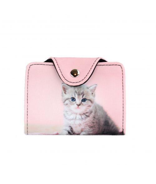 Porte-cartes - Chaton tigré fond rose pâle